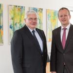 neue Doppelspitze: v.l. Vorstandsvorsitzender Bartholomäus Brieller mit dem Vorstand Bastian Eichhammer © KJF/ Klaus D. Wolf
